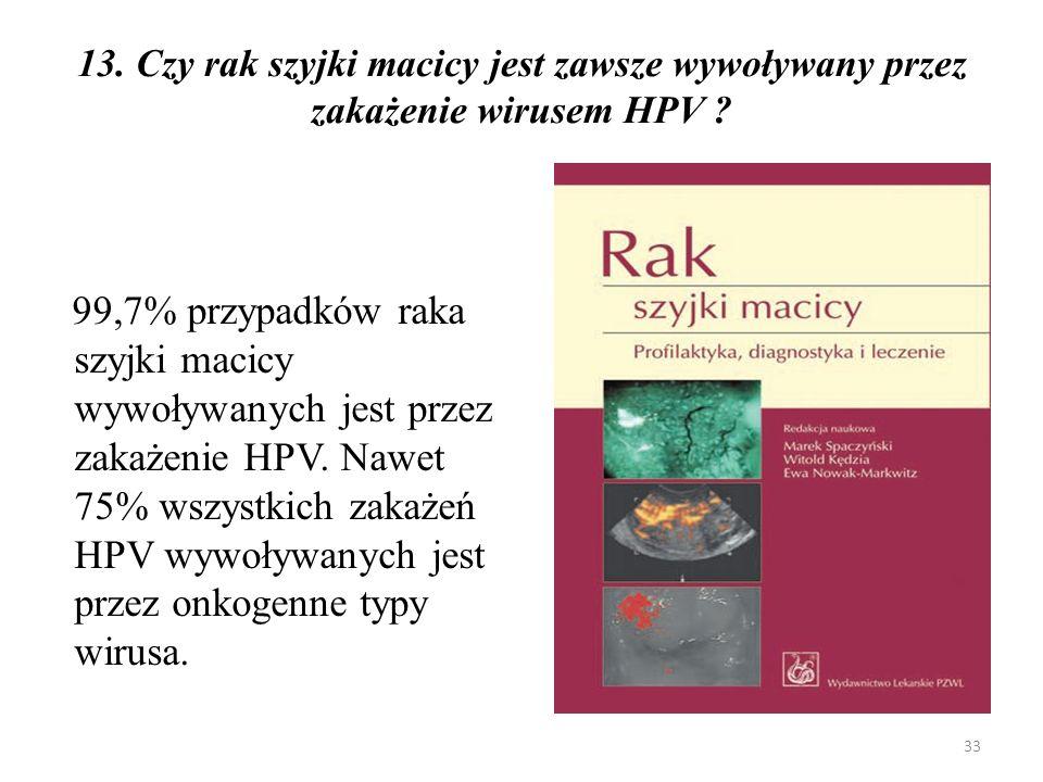 13. Czy rak szyjki macicy jest zawsze wywoływany przez zakażenie wirusem HPV
