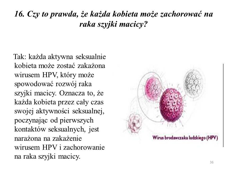16. Czy to prawda, że każda kobieta może zachorować na raka szyjki macicy