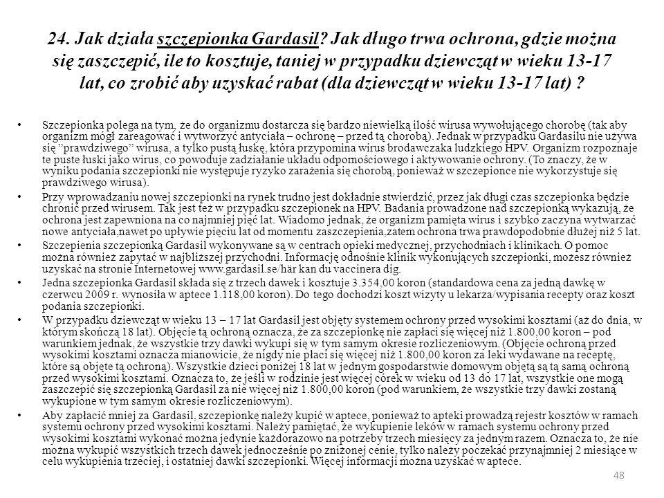 24. Jak działa szczepionka Gardasil