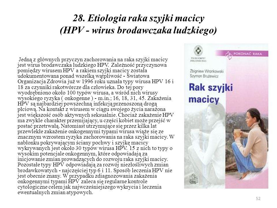 28. Etiologia raka szyjki macicy (HPV - wirus brodawczaka ludzkiego)
