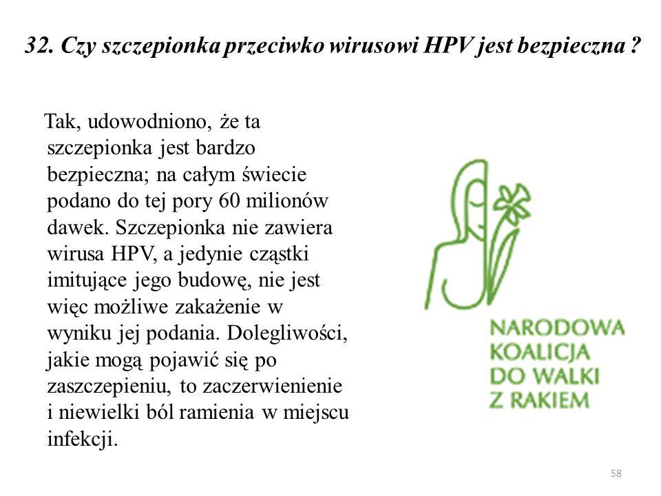 32. Czy szczepionka przeciwko wirusowi HPV jest bezpieczna