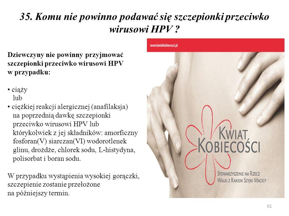 35. Komu nie powinno podawać się szczepionki przeciwko wirusowi HPV