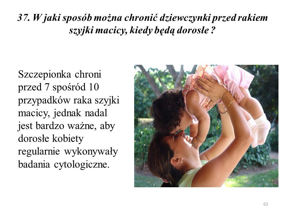 37. W jaki sposób można chronić dziewczynki przed rakiem szyjki macicy, kiedy będą dorosłe