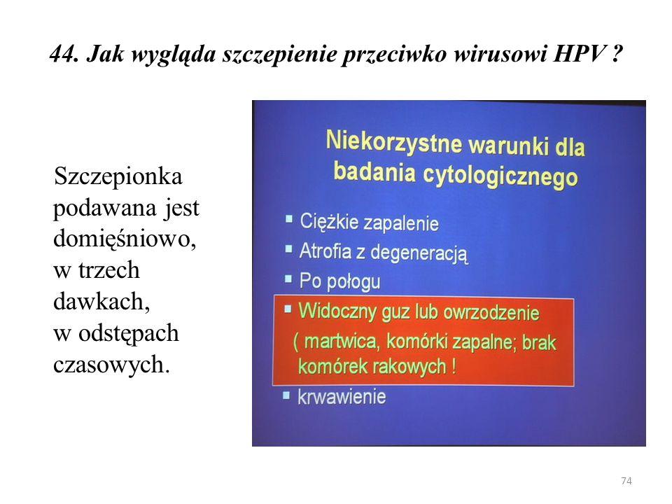 44. Jak wygląda szczepienie przeciwko wirusowi HPV