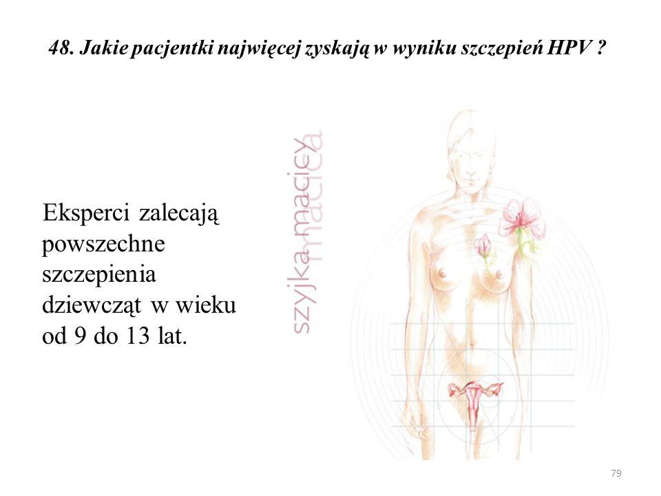48. Jakie pacjentki najwięcej zyskają w wyniku szczepień HPV