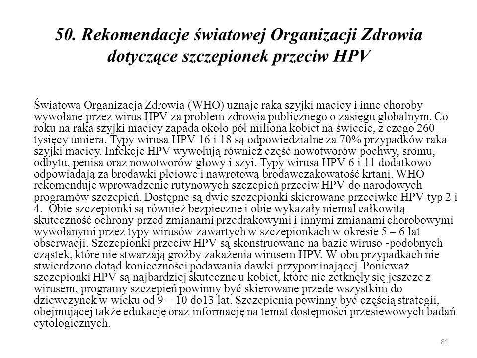 50. Rekomendacje światowej Organizacji Zdrowia dotyczące szczepionek przeciw HPV