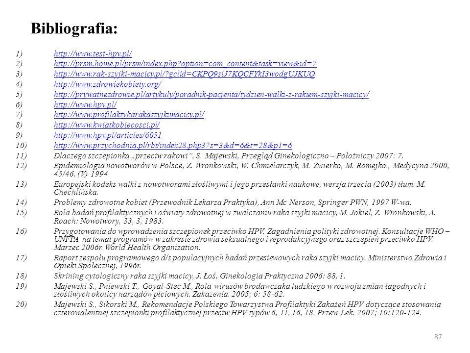 Bibliografia: http://www.test-hpv.pl/