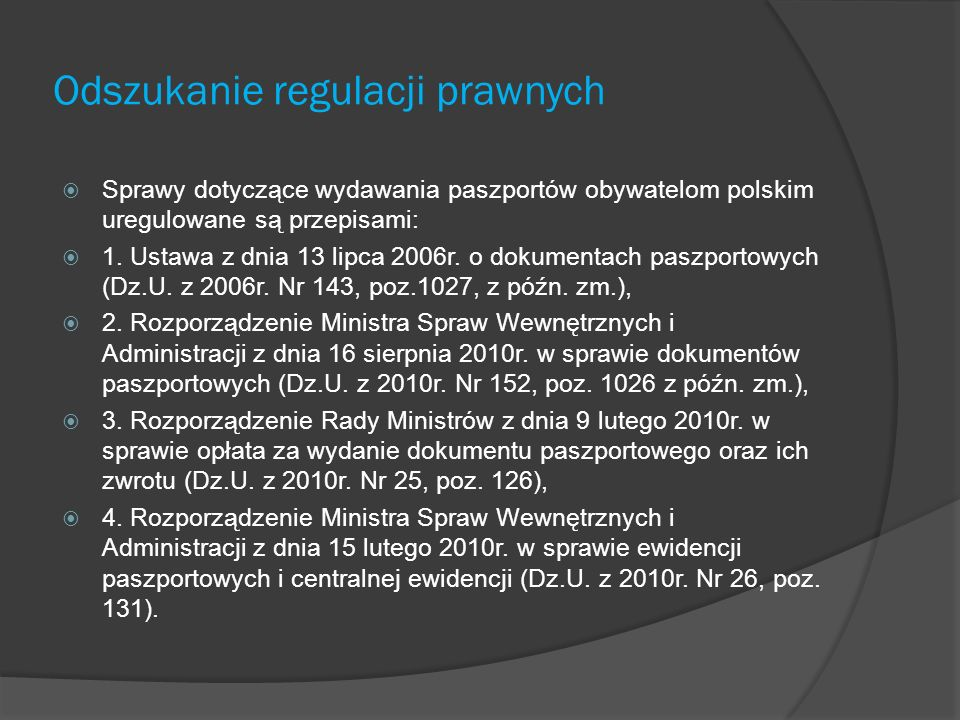 Odszukanie regulacji prawnych