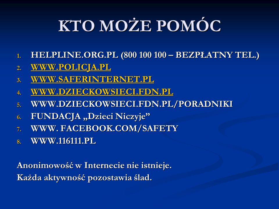 KTO MOŻE POMÓC HELPLINE.ORG.PL (800 100 100 – BEZPŁATNY TEL.)