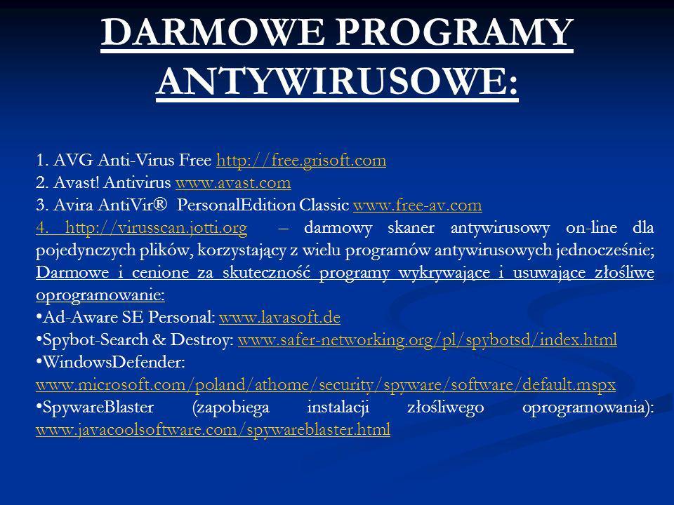 DARMOWE PROGRAMY ANTYWIRUSOWE:
