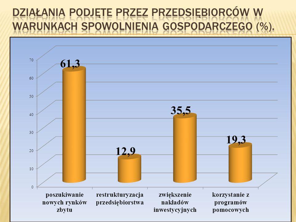 Działania podjęte przez przedsiębiorców w warunkach spowolnienia gospodarczego (%).