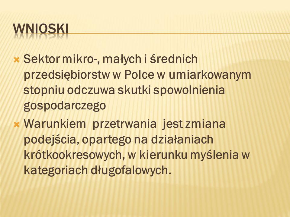wnioski Sektor mikro-, małych i średnich przedsiębiorstw w Polce w umiarkowanym stopniu odczuwa skutki spowolnienia gospodarczego.