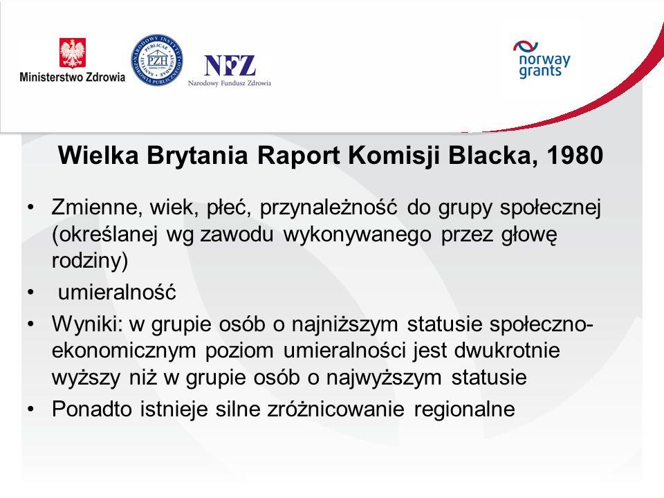 Wielka Brytania Raport Komisji Blacka, 1980