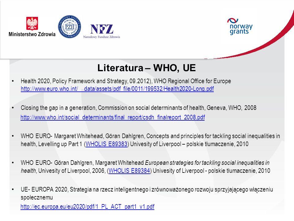 Literatura – WHO, UE