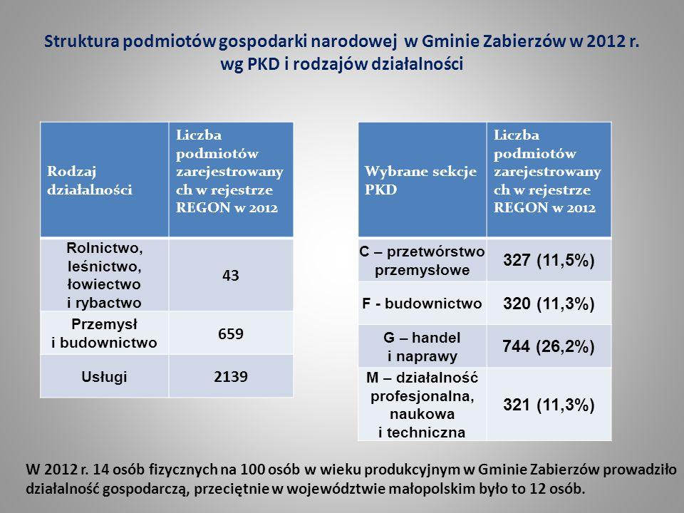 Struktura podmiotów gospodarki narodowej w Gminie Zabierzów w 2012 r