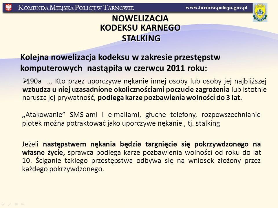 NOWELIZACJA KODEKSU KARNEGO STALKING