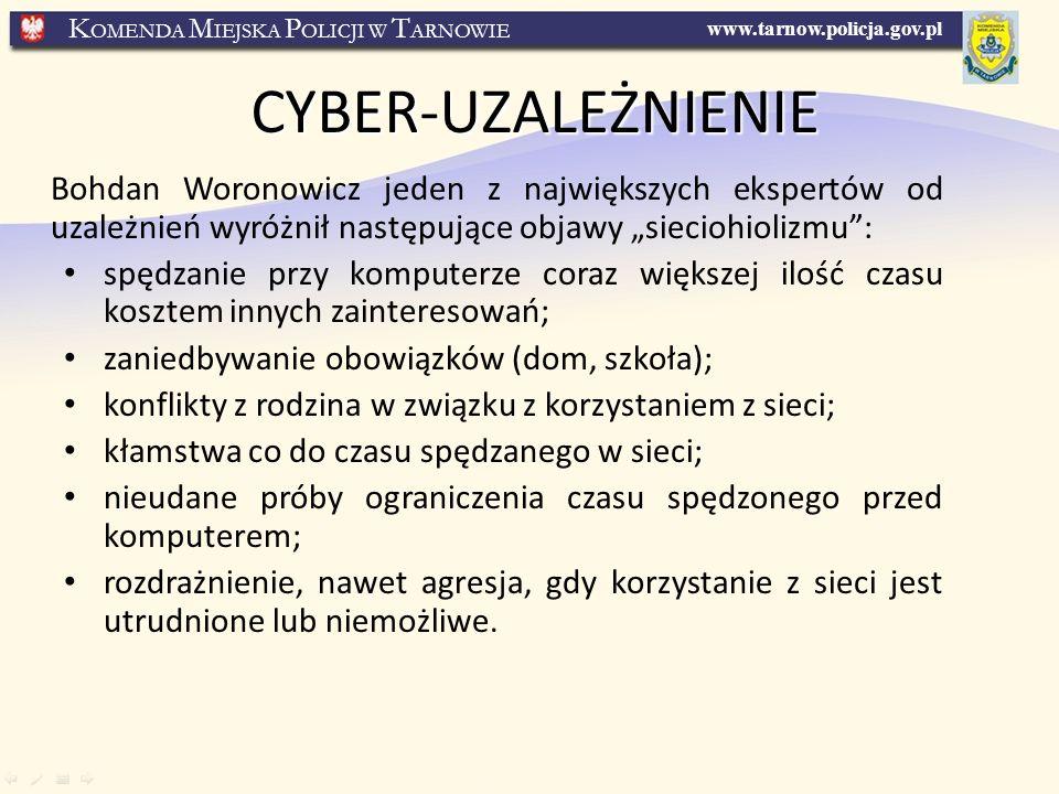 """CYBER-UZALEŻNIENIE Bohdan Woronowicz jeden z największych ekspertów od uzależnień wyróżnił następujące objawy """"sieciohiolizmu :"""