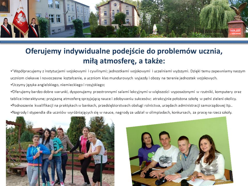 Oferujemy indywidualne podejście do problemów ucznia, miłą atmosferę, a także: