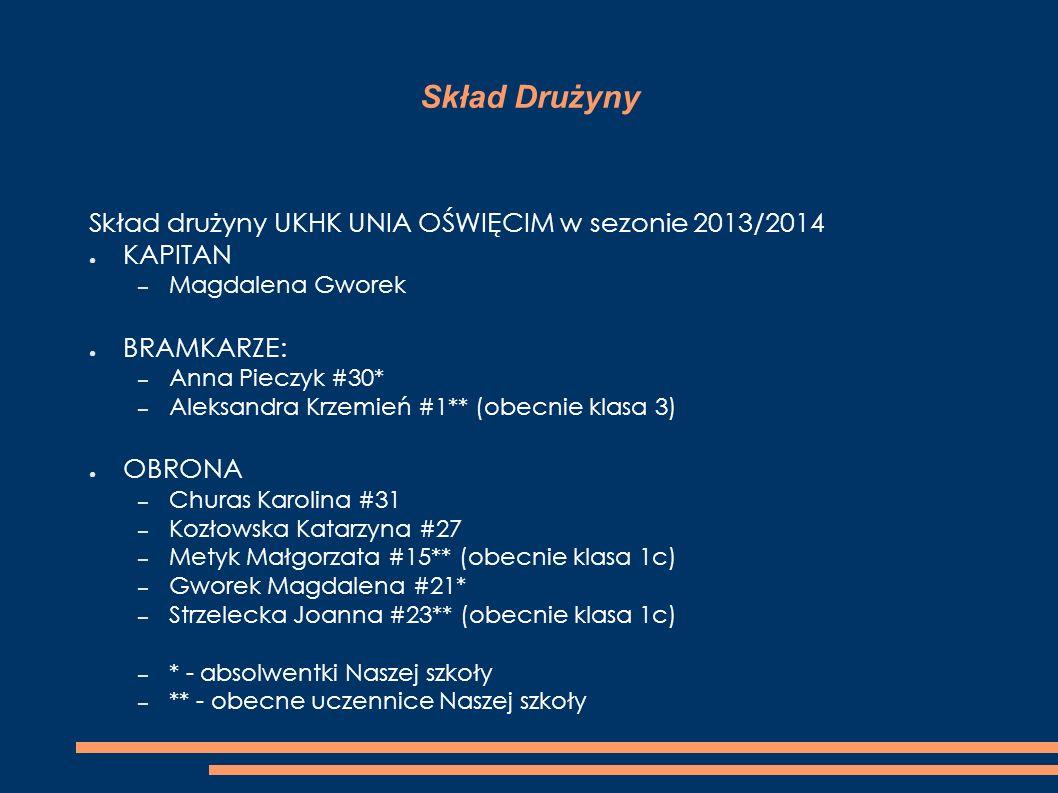 Skład Drużyny Skład drużyny UKHK UNIA OŚWIĘCIM w sezonie 2013/2014