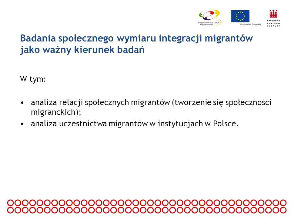Badania społecznego wymiaru integracji migrantów jako ważny kierunek badań