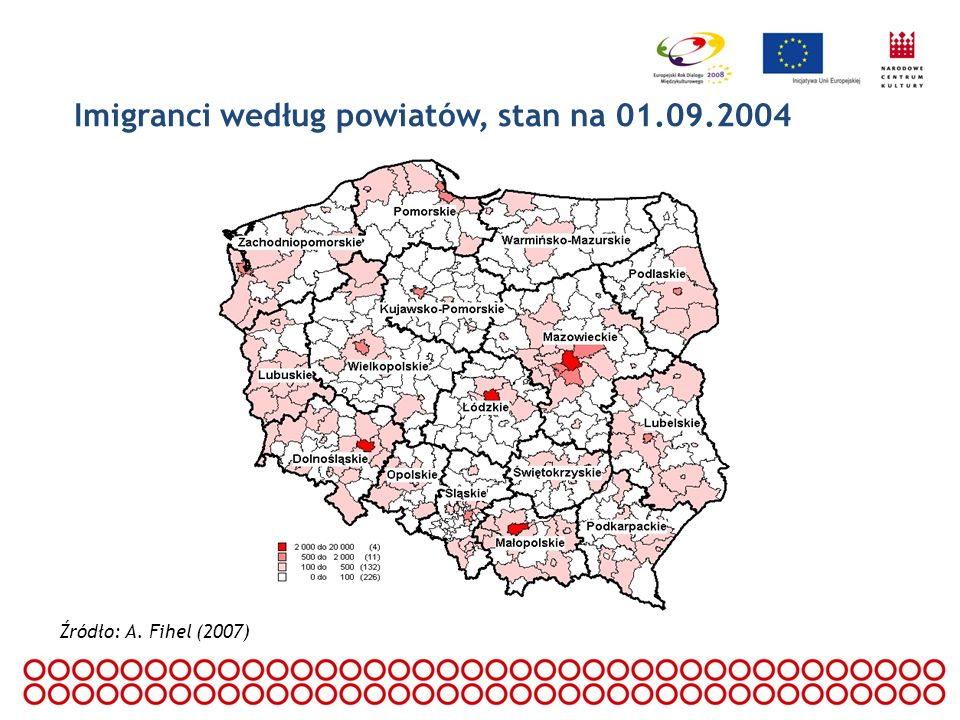 Imigranci według powiatów, stan na 01.09.2004