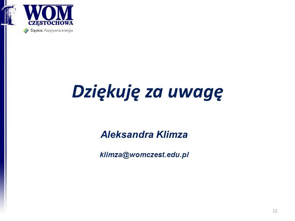 Dziękuję za uwagę Aleksandra Klimza klimza@womczest.edu.pl