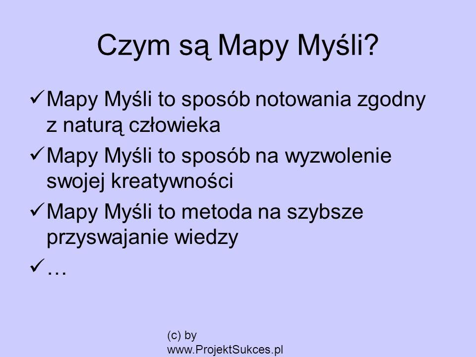 Czym są Mapy Myśli Mapy Myśli to sposób notowania zgodny z naturą człowieka. Mapy Myśli to sposób na wyzwolenie swojej kreatywności.