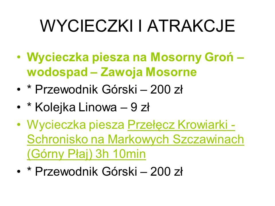 WYCIECZKI I ATRAKCJE Wycieczka piesza na Mosorny Groń – wodospad – Zawoja Mosorne. * Przewodnik Górski – 200 zł.