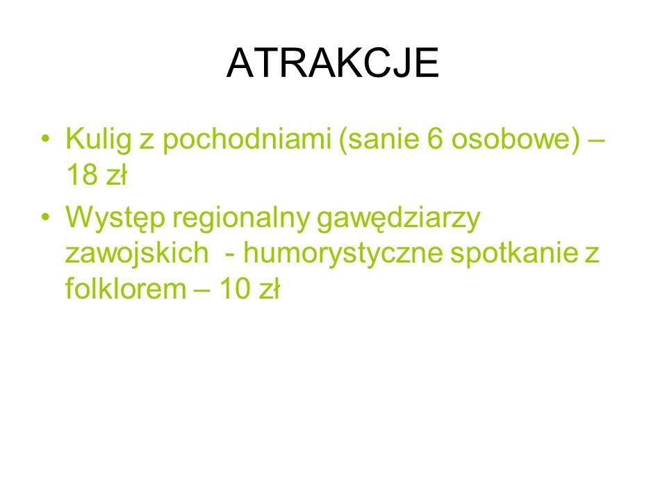 ATRAKCJE Kulig z pochodniami (sanie 6 osobowe) – 18 zł
