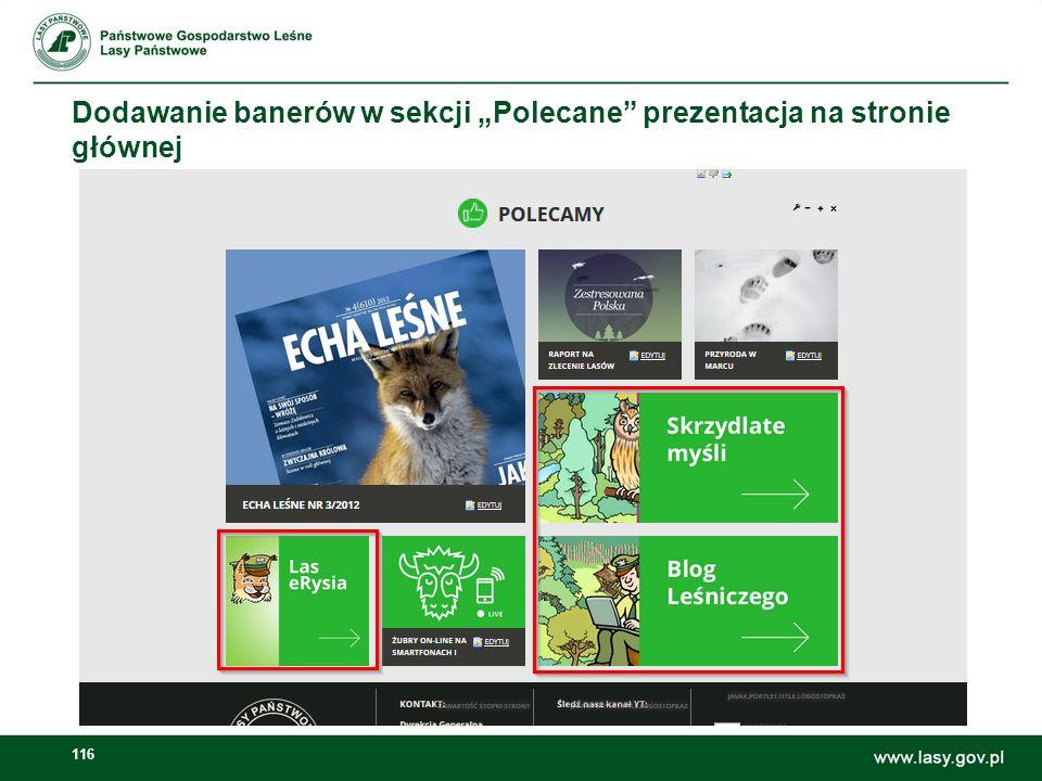 """Dodawanie banerów w sekcji """"Polecane prezentacja na stronie głównej"""