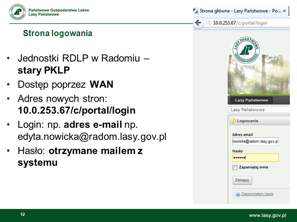 Jednostki RDLP w Radomiu – stary PKLP Dostęp poprzez WAN