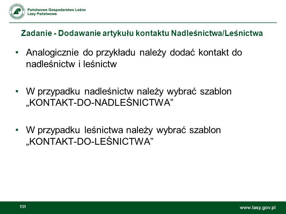 """W przypadku leśnictwa należy wybrać szablon """"KONTAKT-DO-LEŚNICTWA"""