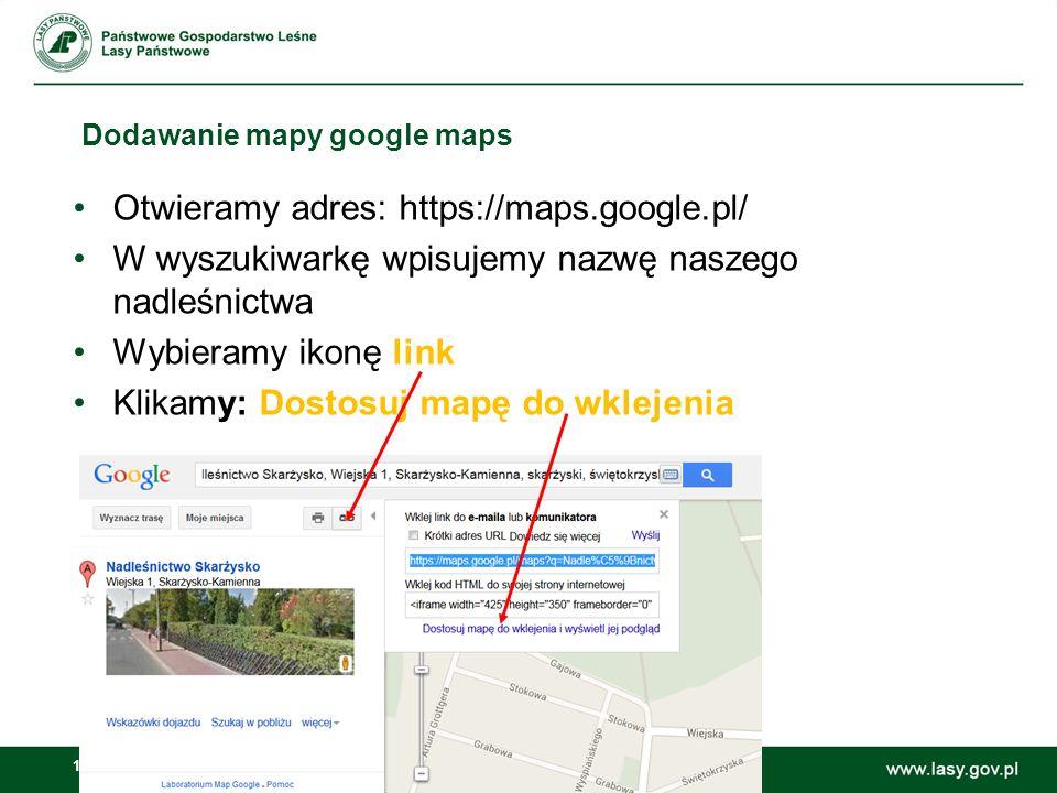 Dodawanie mapy google maps