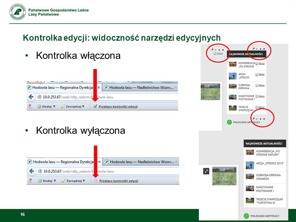 Kontrolka edycji: widoczność narzędzi edycyjnych