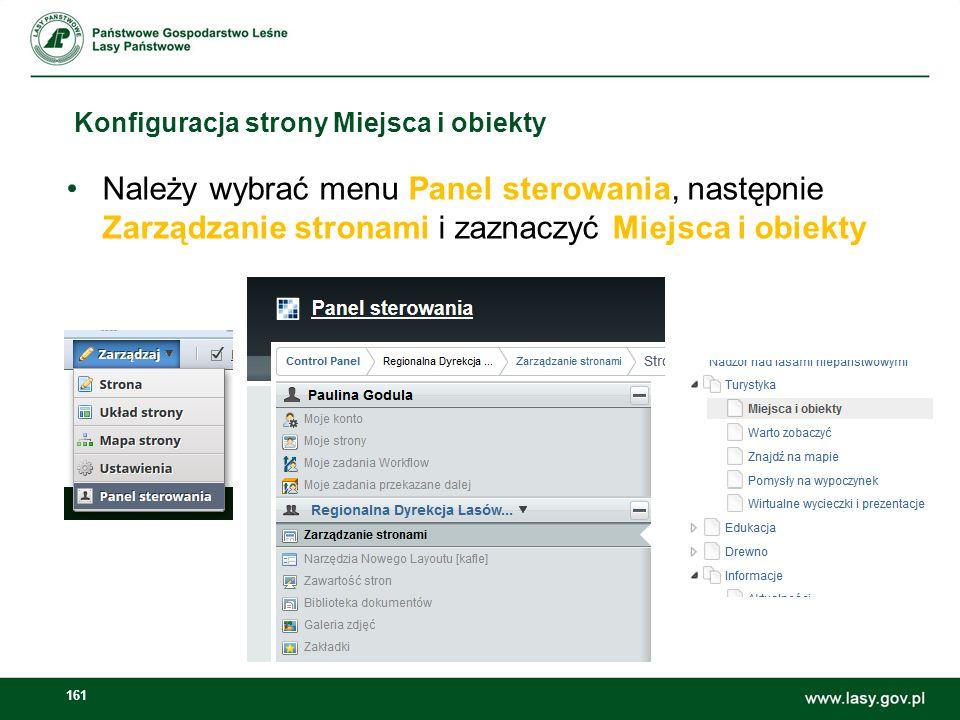 Konfiguracja strony Miejsca i obiekty