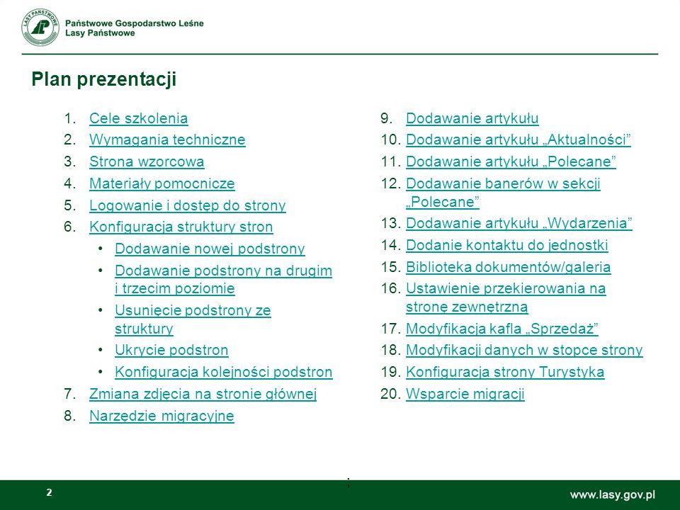 Plan prezentacji Cele szkolenia Wymagania techniczne Strona wzorcowa