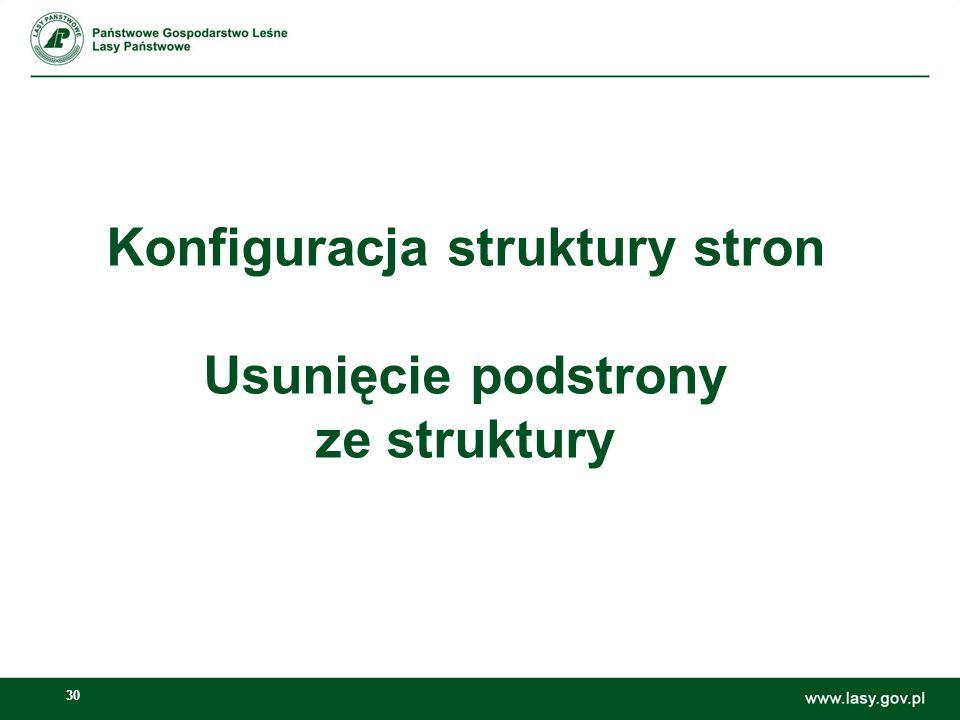 Konfiguracja struktury stron Usunięcie podstrony ze struktury