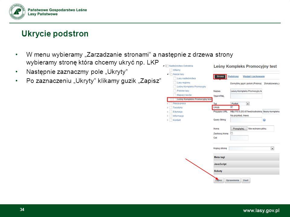 """Ukrycie podstron W menu wybieramy """"Zarzadzanie stronami a następnie z drzewa strony wybieramy stronę która chcemy ukryć np. LKP."""