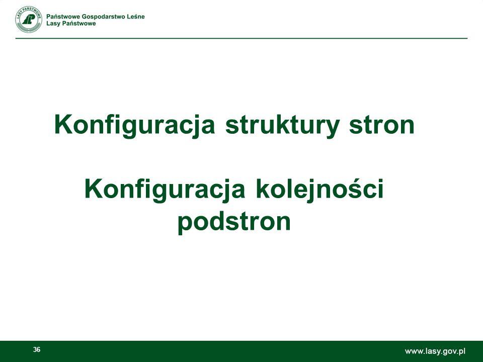 Konfiguracja struktury stron Konfiguracja kolejności podstron