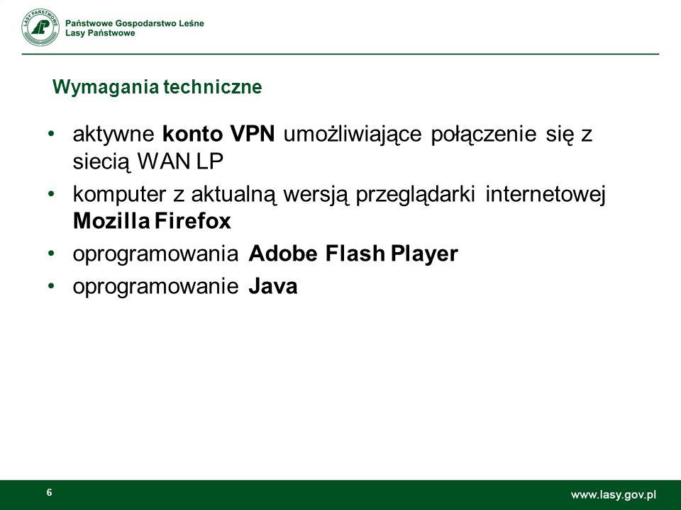 aktywne konto VPN umożliwiające połączenie się z siecią WAN LP