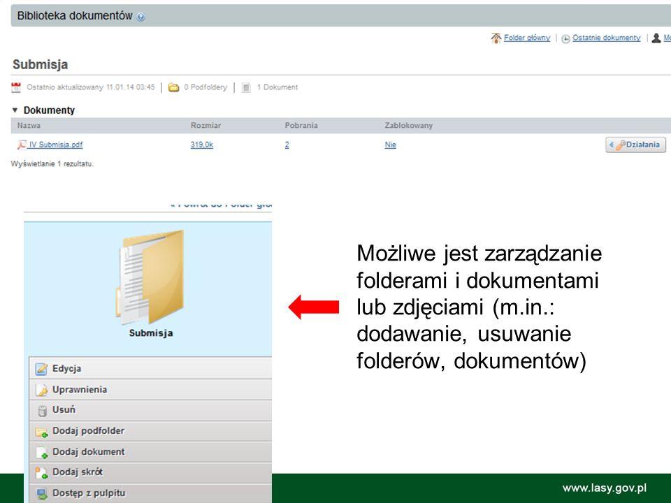 U Możliwe jest zarządzanie folderami i dokumentami lub zdjęciami (m.in.: dodawanie, usuwanie folderów, dokumentów)