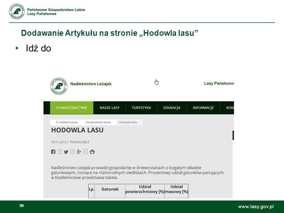 """Dodawanie Artykułu na stronie """"Hodowla lasu"""