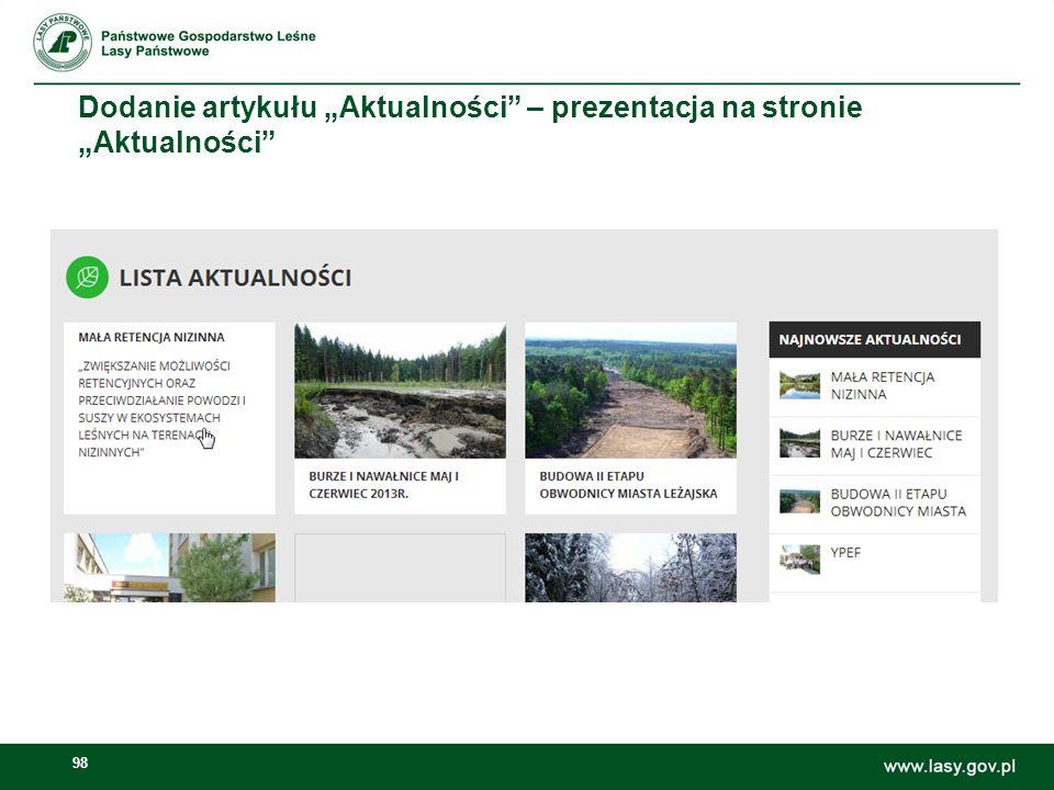 """Dodanie artykułu """"Aktualności – prezentacja na stronie """"Aktualności"""
