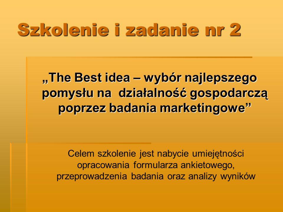 """Szkolenie i zadanie nr 2 """"The Best idea – wybór najlepszego pomysłu na działalność gospodarczą poprzez badania marketingowe"""