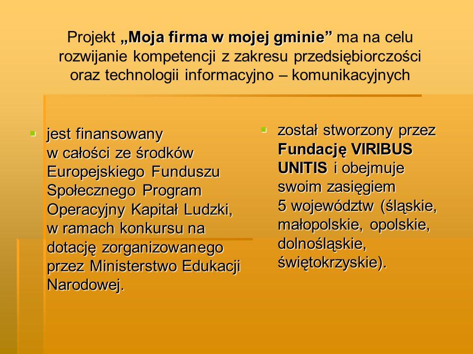 """Projekt """"Moja firma w mojej gminie ma na celu rozwijanie kompetencji z zakresu przedsiębiorczości oraz technologii informacyjno – komunikacyjnych"""