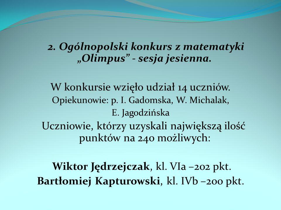 """2. Ogólnopolski konkurs z matematyki """"Olimpus - sesja jesienna."""
