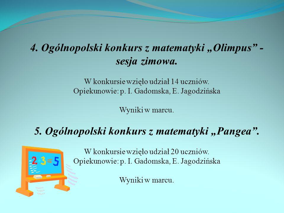 """4. Ogólnopolski konkurs z matematyki """"Olimpus - sesja zimowa."""