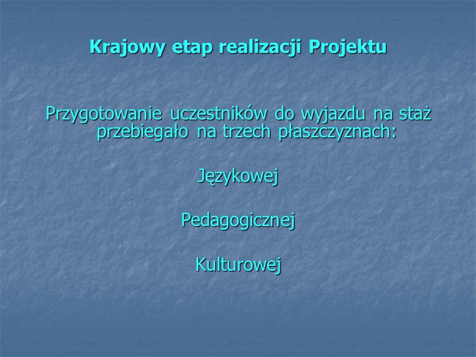 Krajowy etap realizacji Projektu
