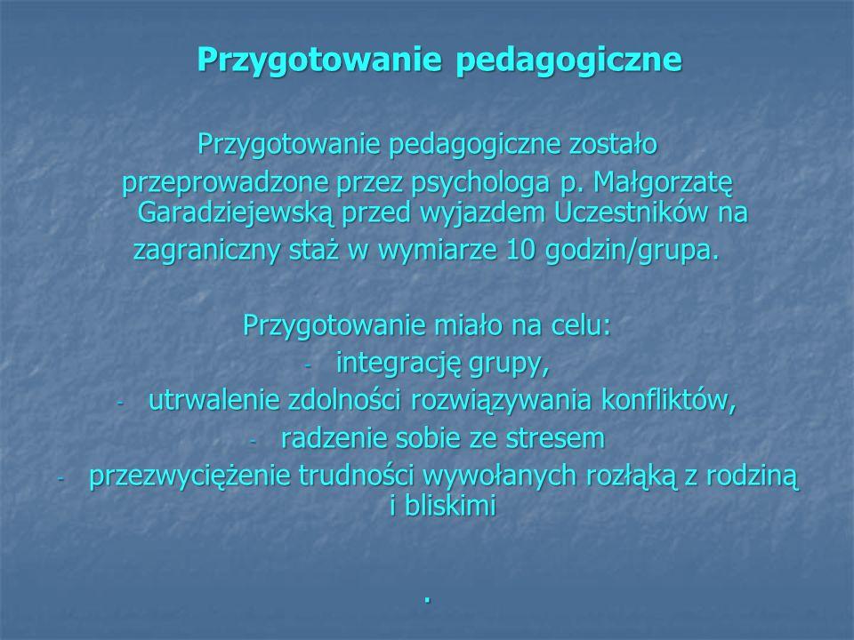 . Przygotowanie pedagogiczne Przygotowanie pedagogiczne zostało
