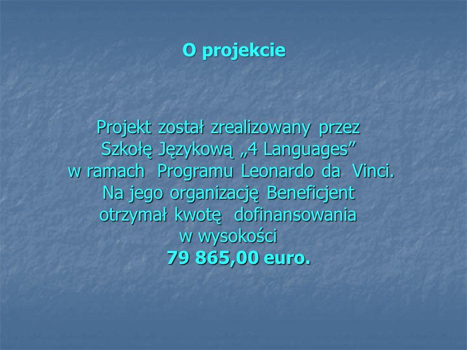 """Projekt został zrealizowany przez Szkołę Językową """"4 Languages"""